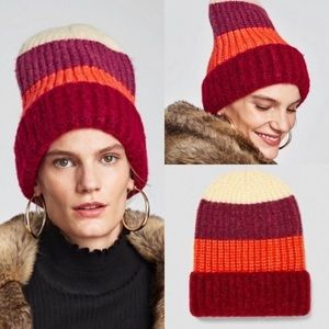 Zara Wool Colour Block Slouchy Tuque New Red NWT